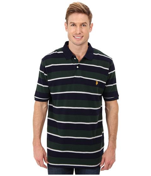 U.S. POLO ASSN. - Striped Short Sleeve Pique Polo (Park Green) Men