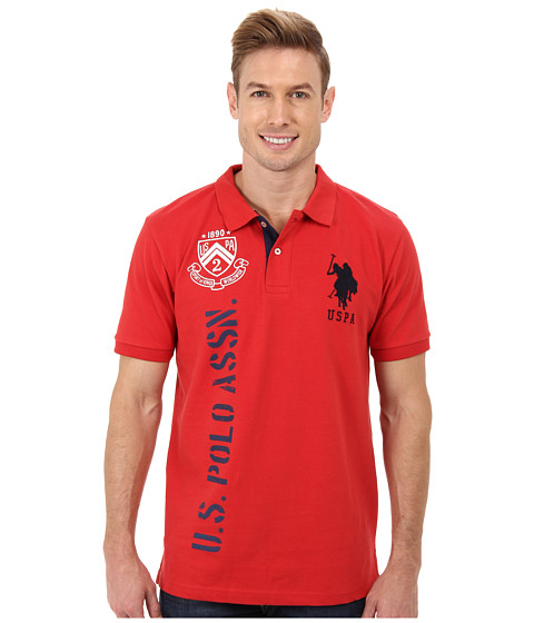 U.S. POLO ASSN. - Solid Short Sleeve Pique Polo w/ Print Graphics (Vintage Red) Men