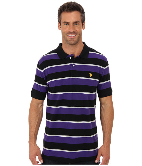 U.S. POLO ASSN. - Striped Short Sleeve Pique Polo (Dark Violet) Men