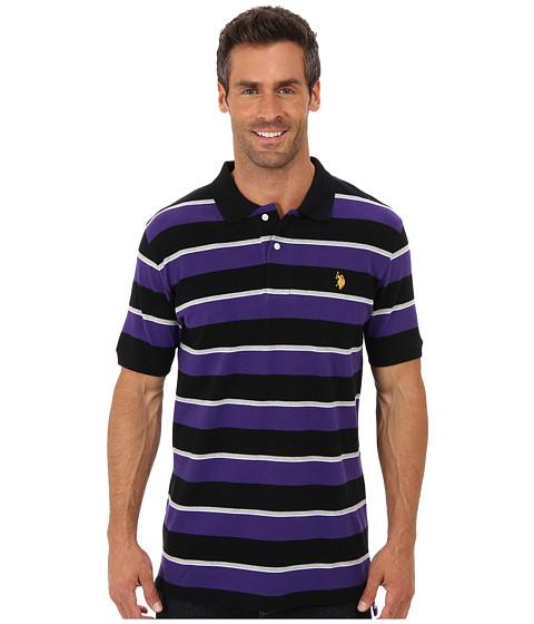 U.S. POLO ASSN. - Striped Short Sleeve Pique Polo (Dark Violet) Men