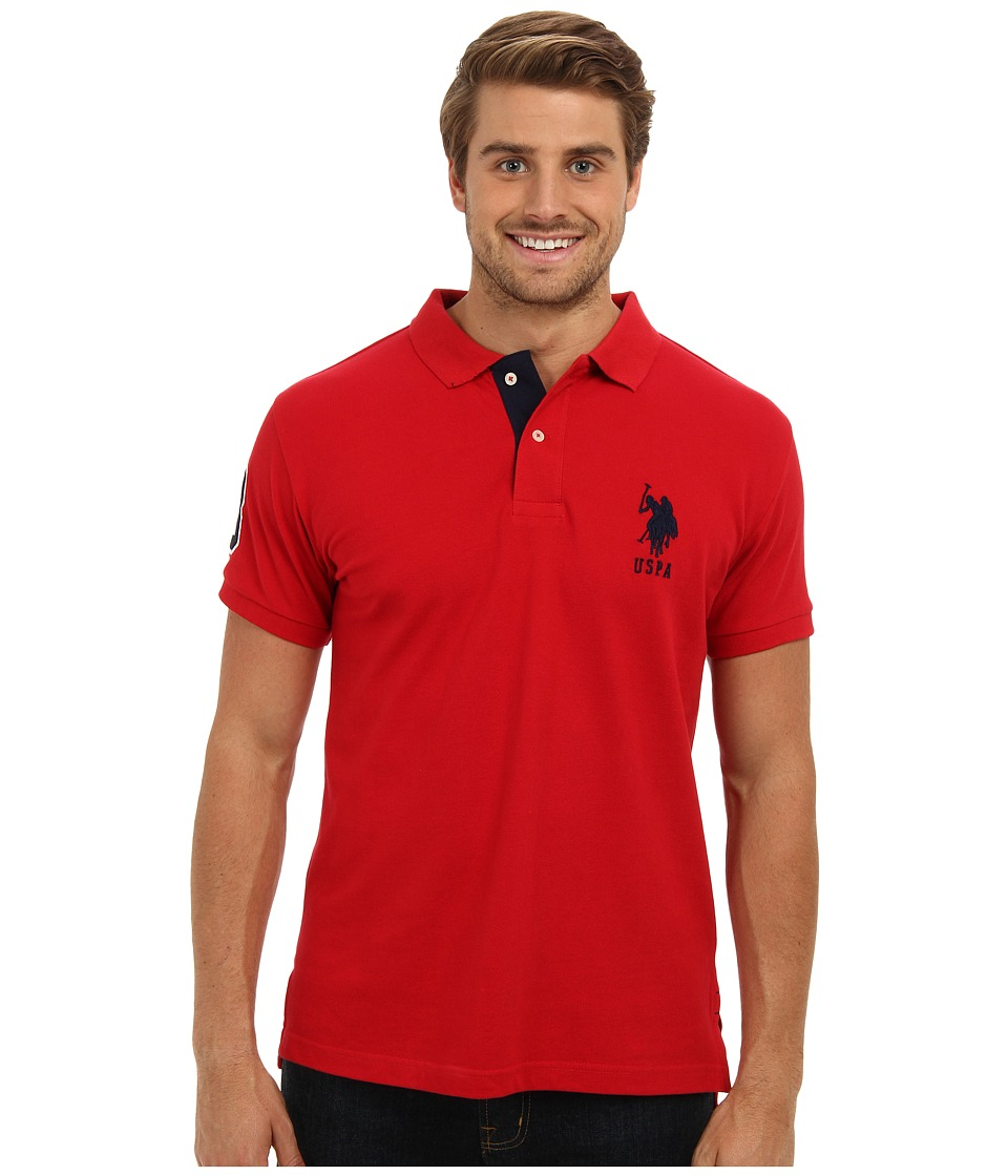 U.S. POLO ASSN. - Slim Fit Solid Polo w/ Contrast Striped Underside of Collar (Engine Red) Men