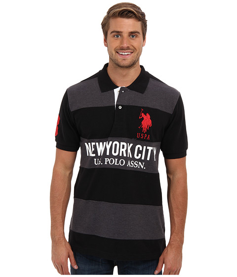 U.S. POLO ASSN. - Short Sleeve Wide Stripe Solid Sleeve Pique Polo (Black) Men