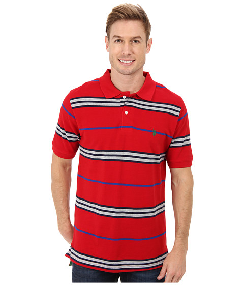 U.S. POLO ASSN. - Multistripe Short Sleeve Pique Polo (Engine Red) Men's Short Sleeve Knit