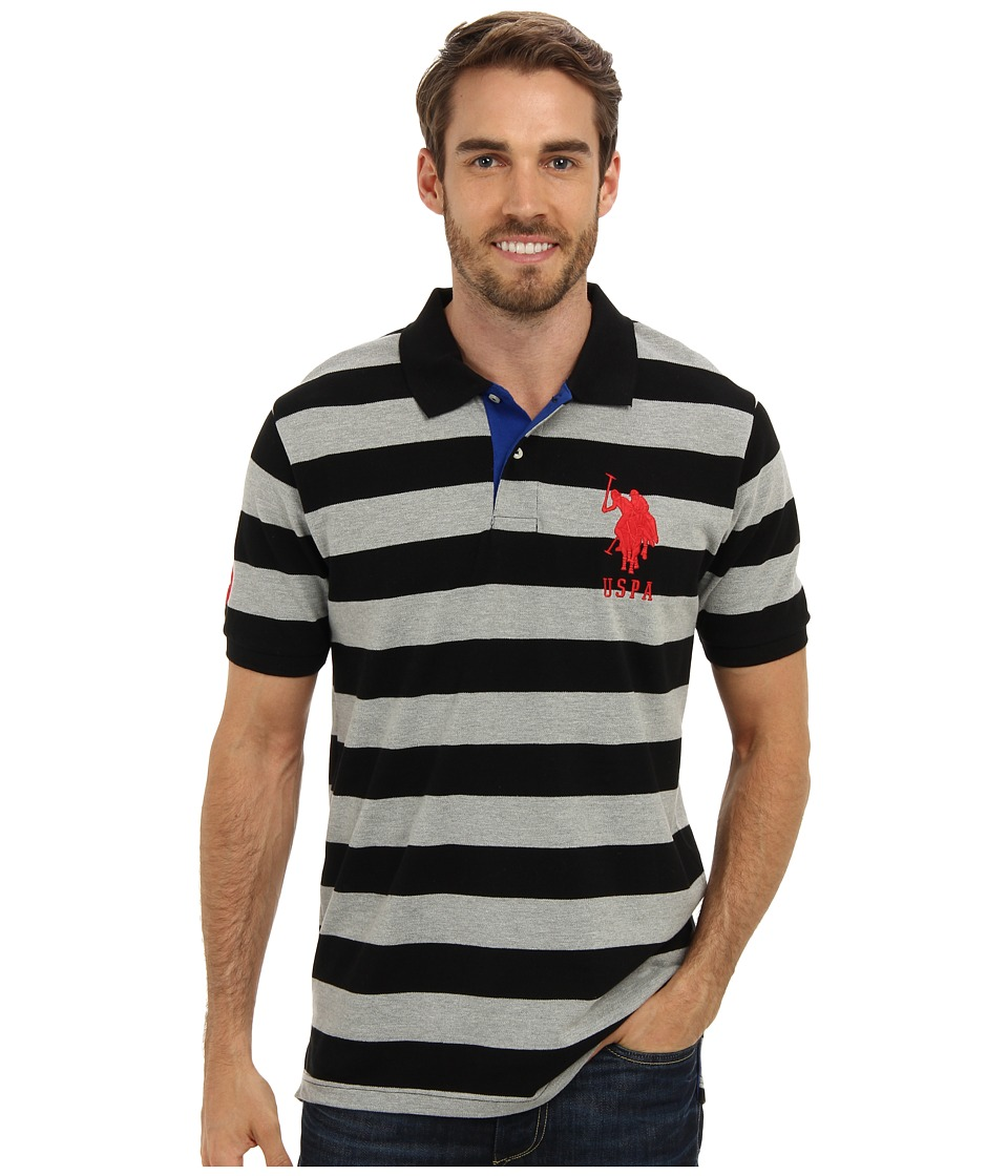 U.S. POLO ASSN. - Two-Color Medium Stripe Pique Polo (Black/Heather Gray) Men
