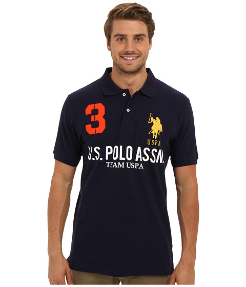 U.S. POLO ASSN. - Team U.S. Polo Assn. Polo Shirt (Classic Navy) Men's Short Sleeve Knit