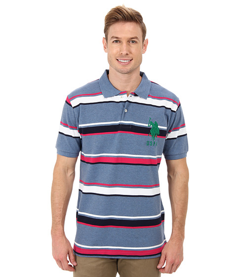U.S. POLO ASSN. - Short Sleeve Cotton Pique Multicolor Stripe Polo (Cadet Blue Heather) Men
