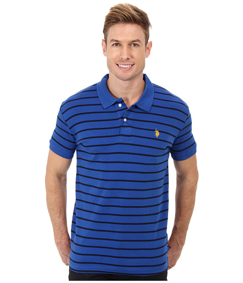 U.S. POLO ASSN. - Slim Fit Interlock Stripe Polo (Cobalt Blue) Men's Short Sleeve Knit