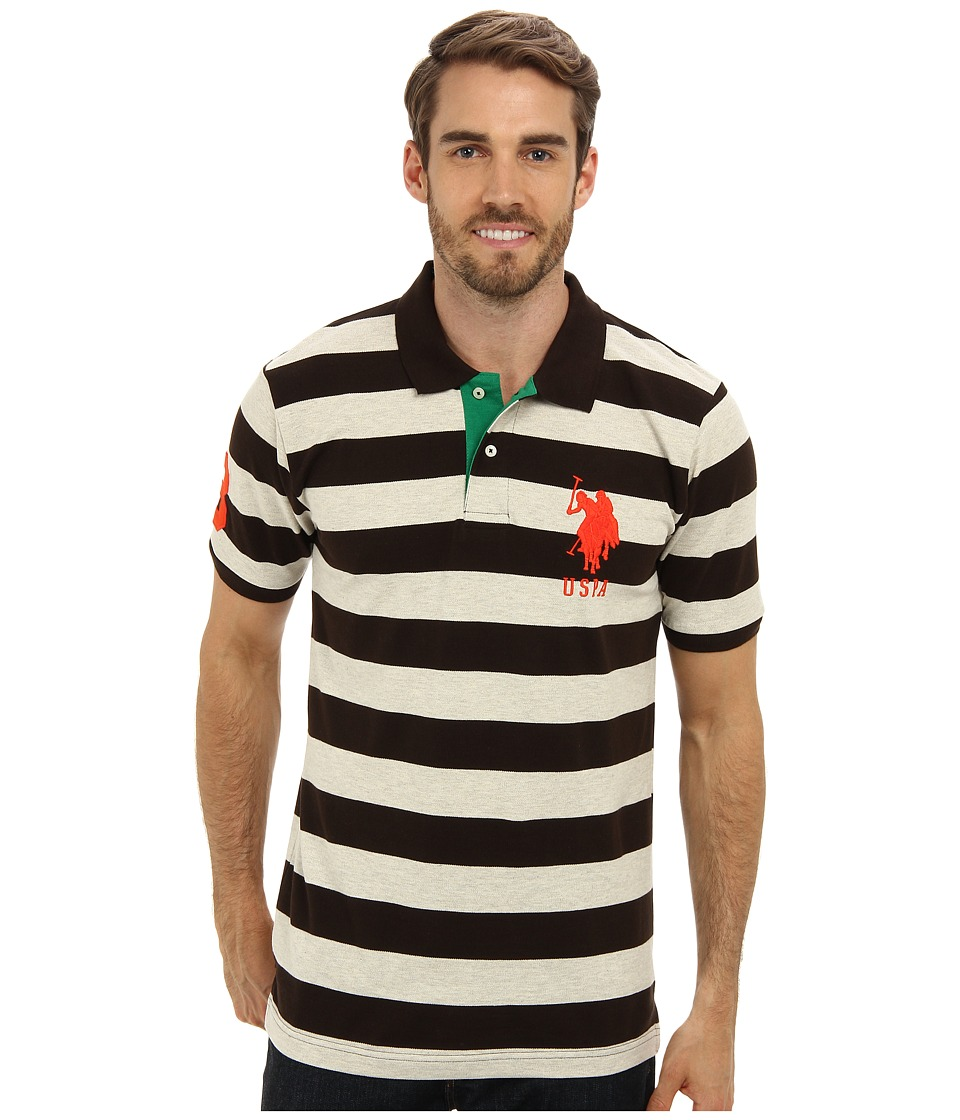 U.S. POLO ASSN. - Two-Color Medium Stripe Pique Polo (Boot Strap Brown) Men's Short Sleeve Knit