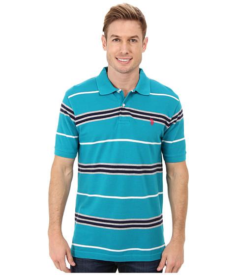 U.S. POLO ASSN. - Multistripe Short Sleeve Pique Polo (Peacock Blue) Men