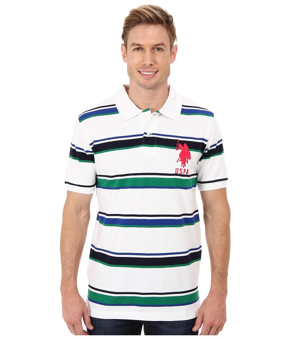 U.S. POLO ASSN. - Short Sleeve Cotton Pique Multicolor Stripe Polo (White) Men