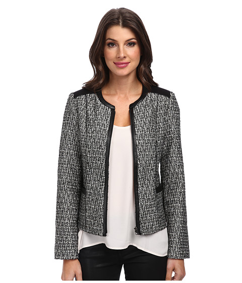 NYDJ - Metallic Leather Tweed Jacket (Black) Women's Coat