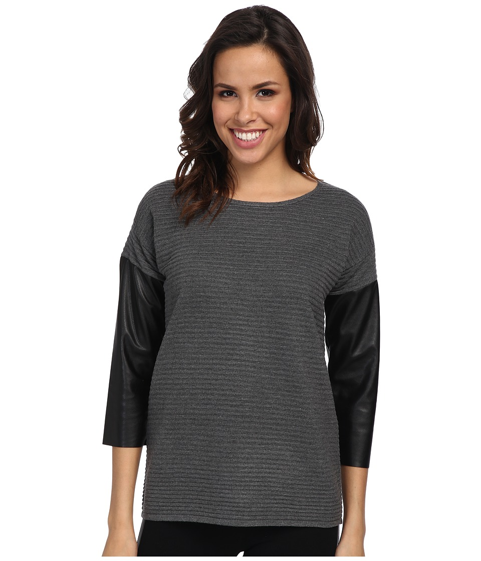 Calvin Klein Crew Sweater w/ Faux Leather Sleeves (Heather Charcoal) Women