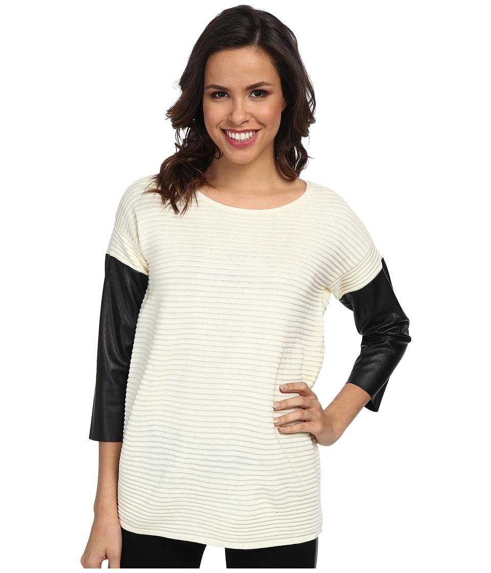 Calvin Klein - Crew Sweater w/ Faux Leather Sleeves (Birch) Women's Sweater