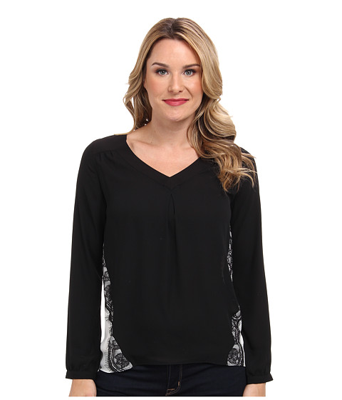 NYDJ - Lace Contrast Blouse (Black/Sugar) Women's Blouse