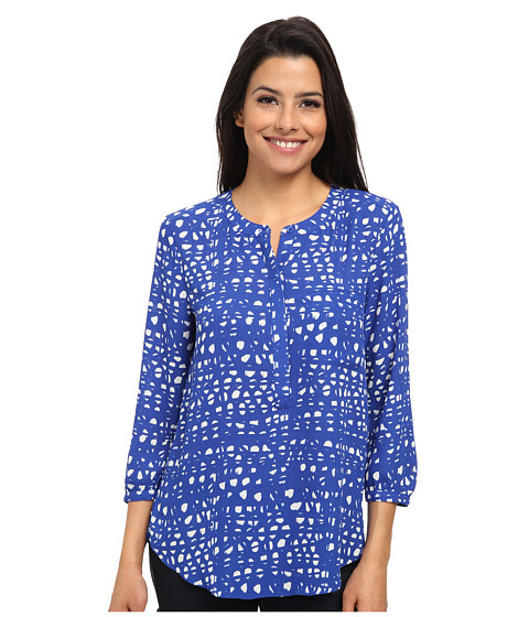 NYDJ - Graphic Lattice Print (Azul/White) Women