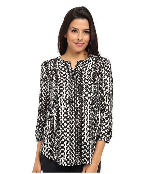 NYDJ - Abstract Boa Print (Black/White) Women's Blouse