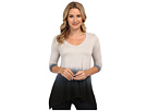 DKNY Jeans 3/4 Sleeve Pieced Dip Dye Top (Zinc)