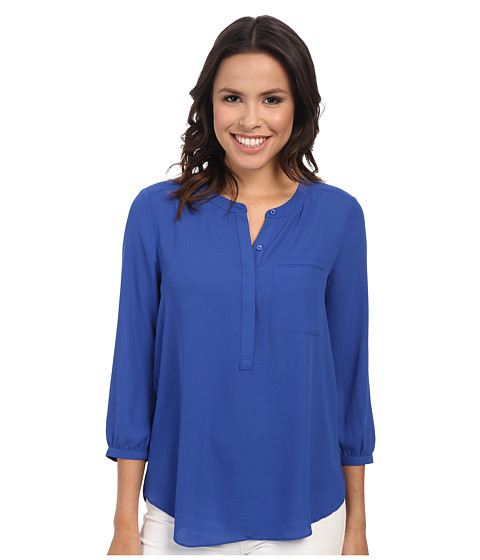 NYDJ - Solid 3/4 Sleeve Pleat Back (Azul) Women's Blouse