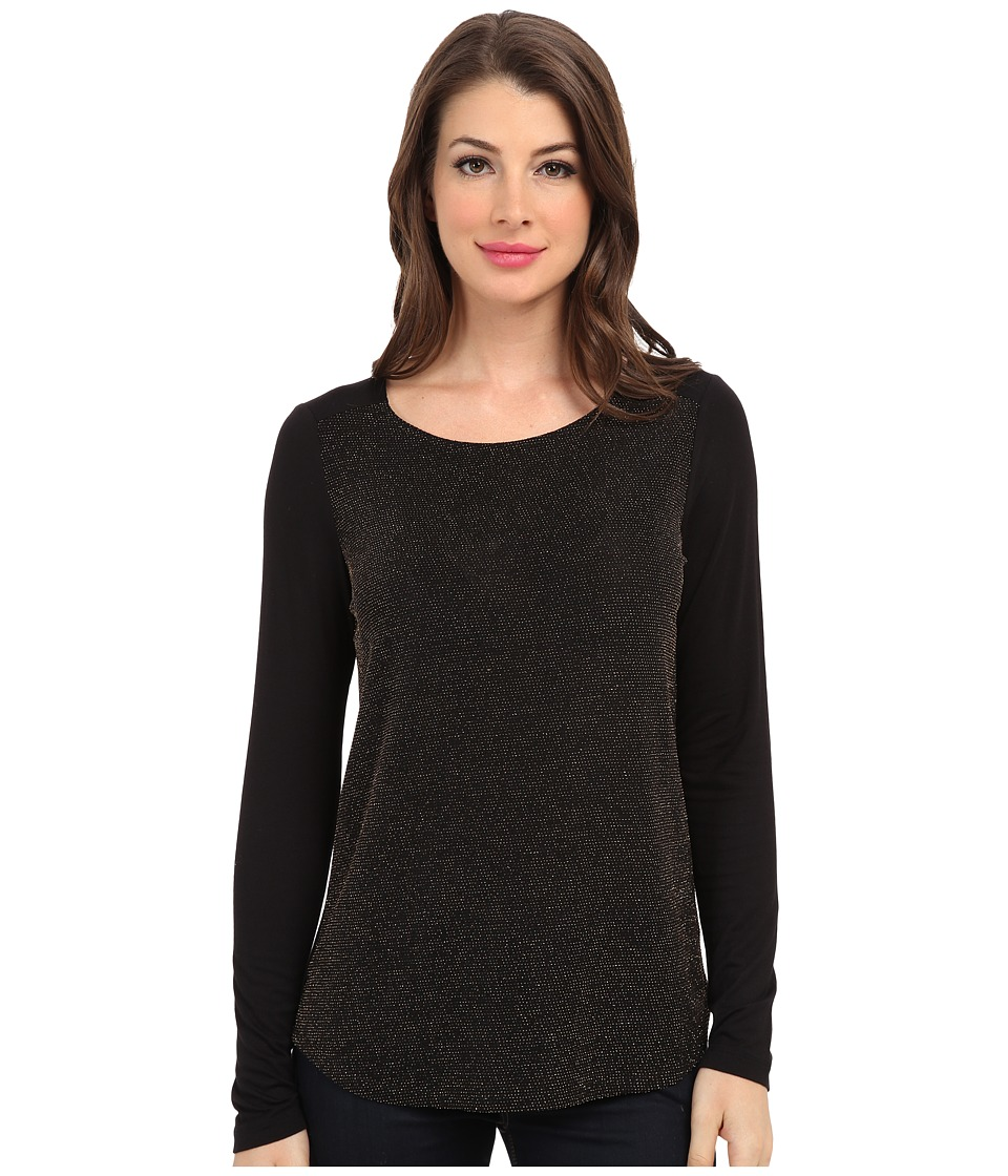 NYDJ - Metallic Jacquard Top (Black) Women's Clothing