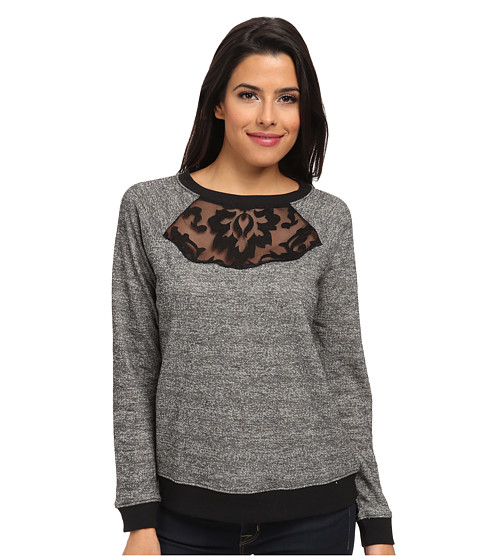 NYDJ - Embroidered Lace Sweatshirt (Heathered Grey) Women's Sweatshirt