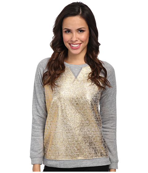 NYDJ - Foil Terry Sweat Top (Light Heather Grey/Gold Foil) Women