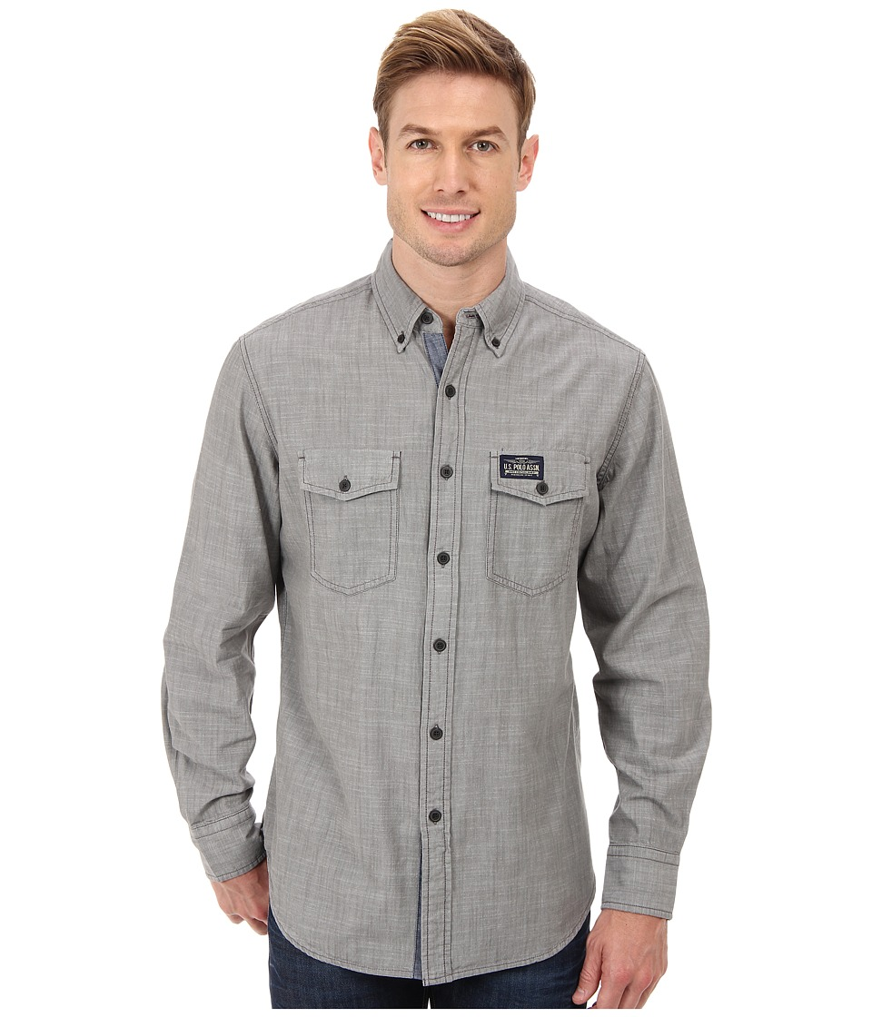 U.S. POLO ASSN. - Solid Canvas Sport Shirt (Industrial Gray) Men's Long Sleeve Button Up