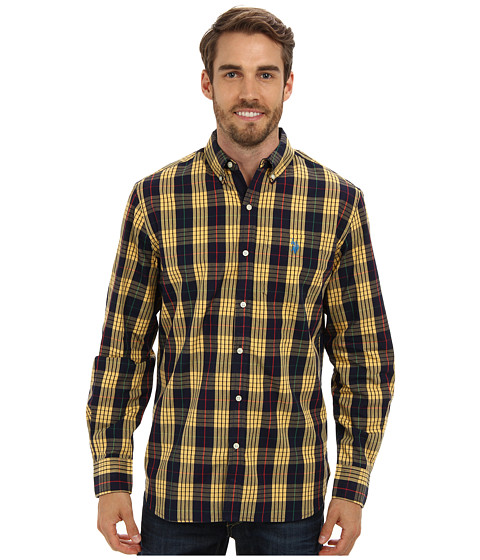 U.S. POLO ASSN. - Button-Down Plaid Poplin Sport Shirt (Classic Navy) Men