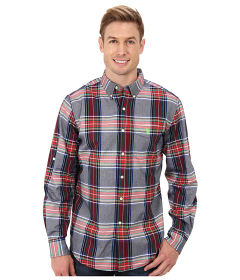 U.S. POLO ASSN. - Plaid Combed Oxford Long Sleeve Sport Shirt (Classic Navy) Men