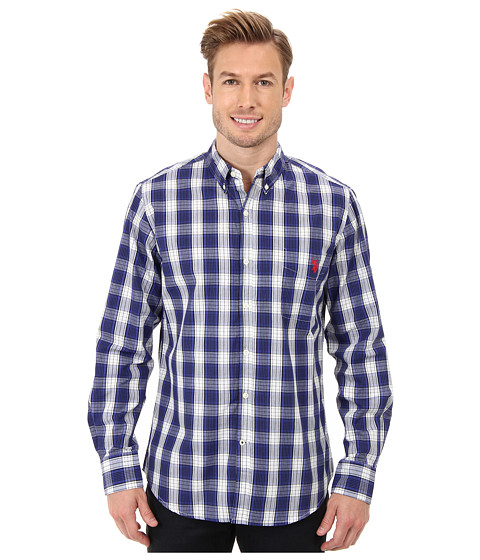 U.S. POLO ASSN. - Plaid Poplin Long Sleeve Sport Shirt (Dark Violet) Men