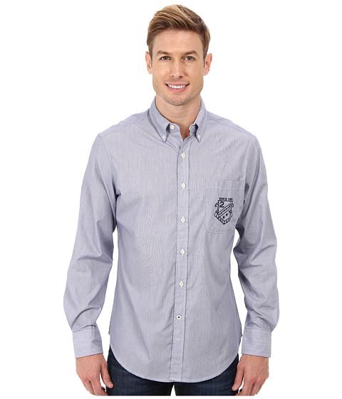 U.S. POLO ASSN. - Vertical Stripe Poplin Long Sleeve Sport Shirt (Marina Blue) Men