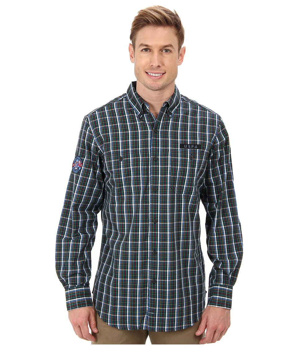 U.S. POLO ASSN. - Long Sleeve Plaid Poplin Shirt (Classic Navy) Men's Long Sleeve Button Up