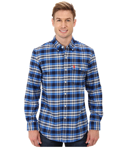 U.S. POLO ASSN. - Plaid Poplin Long Sleeve Button-Down Shirt (Vintage Navy) Men