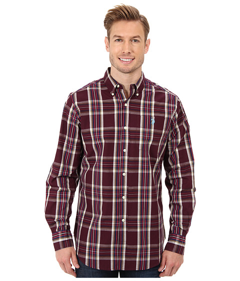 U.S. POLO ASSN. - Long Sleeve Button-Down Plaid Sport Shirt (Burgundy) Men's Long Sleeve Button Up