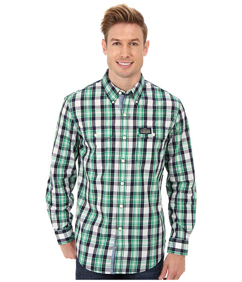U.S. POLO ASSN. - Slim Fit Long Sleeve Button-Down Plaid Shirt (Clover Green) Men