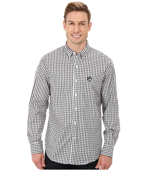 U.S. POLO ASSN. - Long Sleeve Check Poplin Sport Shirt (Optic White) Men's Long Sleeve Button Up