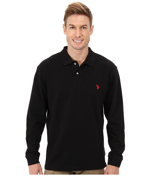 U.S. POLO ASSN. - Long Sleeve Pique Polo w/ Small Pony Logo (Black) Men's Long Sleeve Button Up