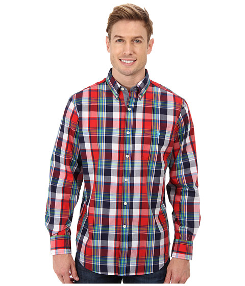 U.S. POLO ASSN. - Long Sleeve Plaid Poplin Sport Shirt (Harvest Orange) Men