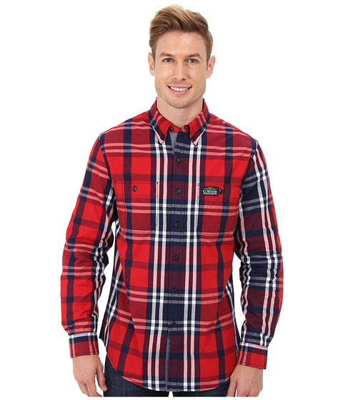 U.S. POLO ASSN. - Slim Fit Long Sleeve Plaid Poplin Sport Shirt (Vintage Navy) Men's Long Sleeve Button Up