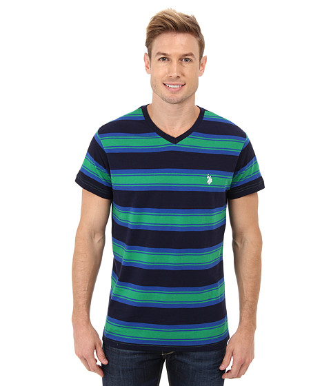 U.S. POLO ASSN. - Short Sleeve Crew Neck Striped T-Shirt (Clover Green) Men's Short Sleeve Pullover