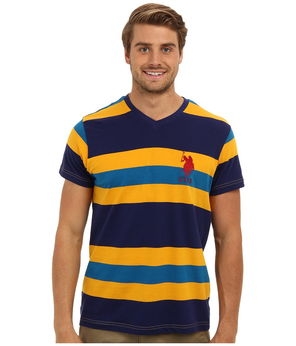 U.S. POLO ASSN. - Short Sleeve V-Neck Cotton Jersey Striped T-Shirt (Marigold Yellow) Men's T Shirt