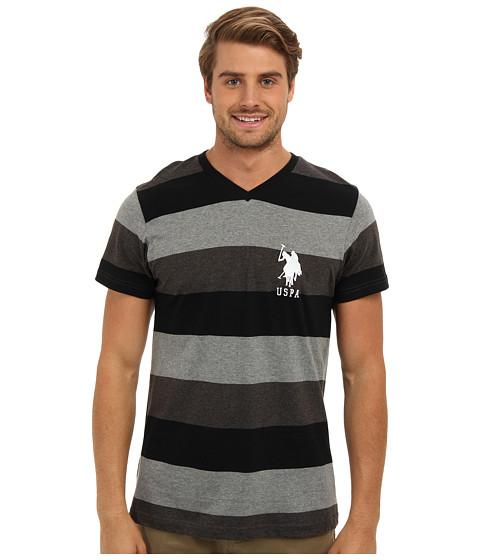 U.S. POLO ASSN. - Short Sleeve V-Neck Tri-Color T-Shirt (Heather Dark Gray) Men's T Shirt