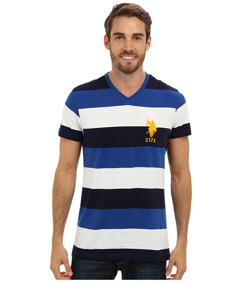 U.S. POLO ASSN. - Short Sleeve V-Neck Tri-Color T-Shirt (Cobalt Blue) Men