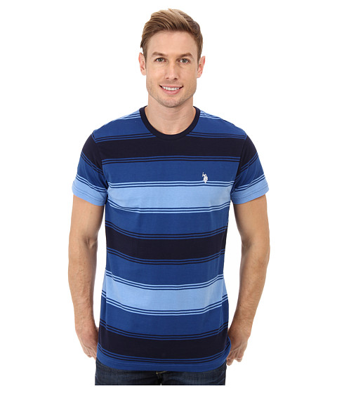 U.S. POLO ASSN. - Tri-Color Stripe Crew Neck Short Sleeve T-Shirt (Monaco Blue) Men's Long Sleeve Pullover