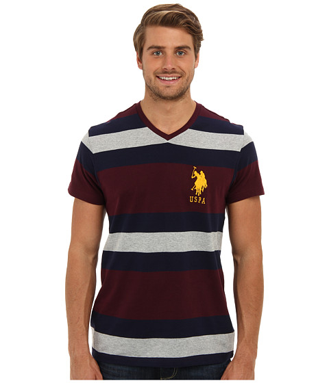 U.S. POLO ASSN. - Short Sleeve V-Neck Cotton Jersey Striped T-Shirt (Burgundy) Men