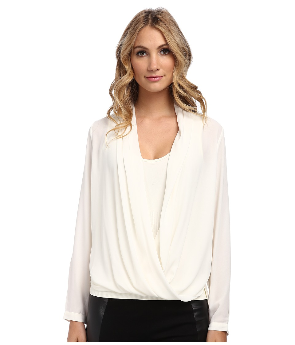 NYDJ - Drape Front Blouse with Fit Solution Tank (Vanilla) Women's Long Sleeve Pullover
