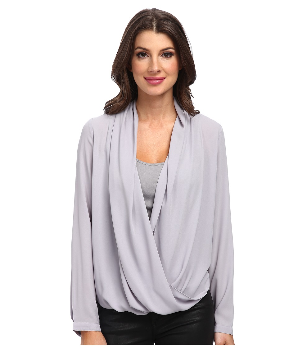 NYDJ - Drape Front Blouse with Fit Solution Tank (Dove) Women's Long Sleeve Pullover