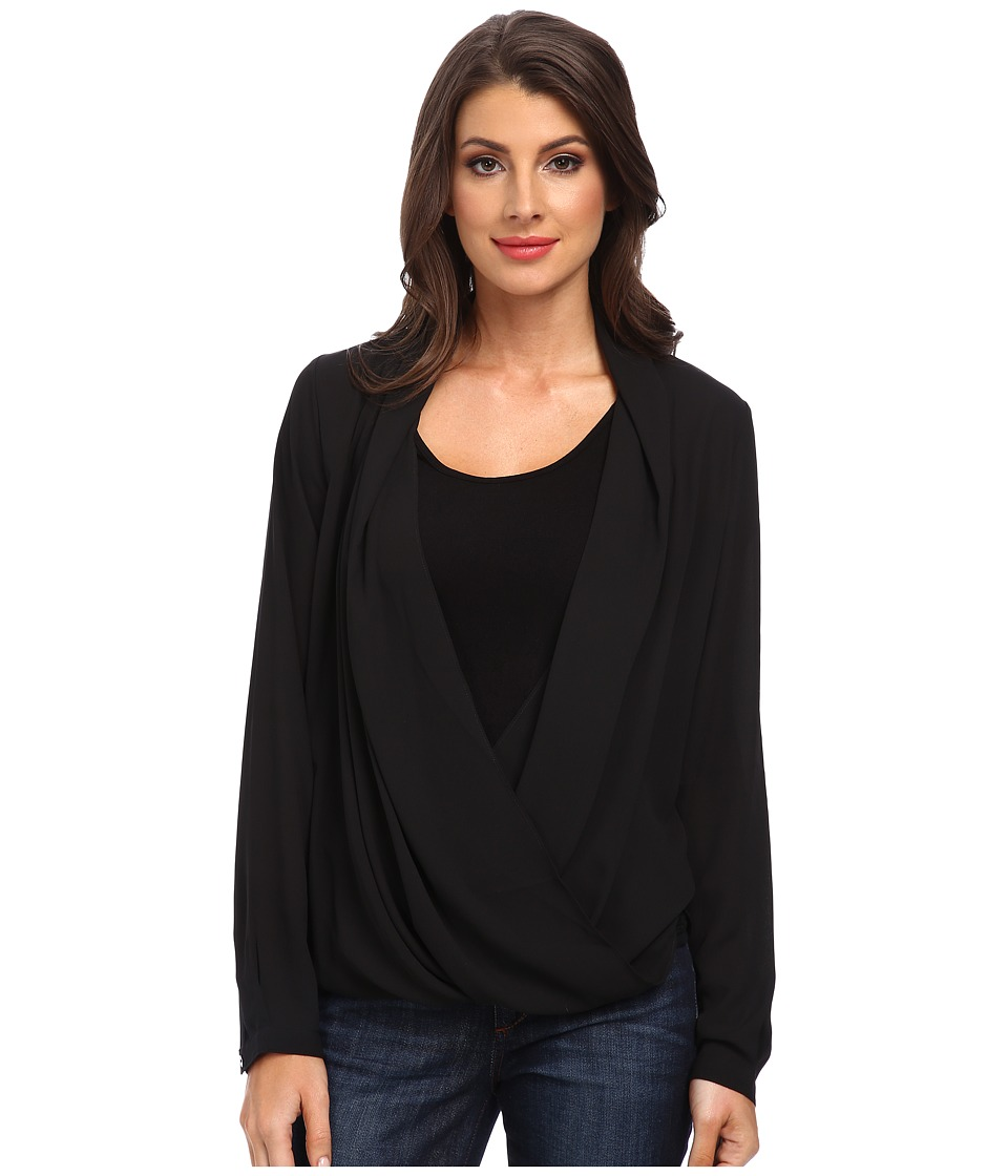 NYDJ - Drape Front Blouse with Fit Solution Tank (Black) Women's Long Sleeve Pullover