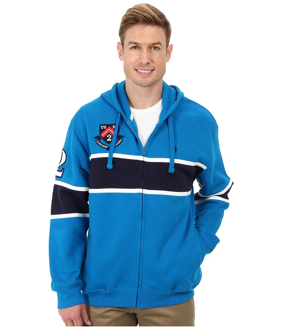 U.S. POLO ASSN. - Chest Stripe Fleece Hooded Jacket (Teal Blue) Men