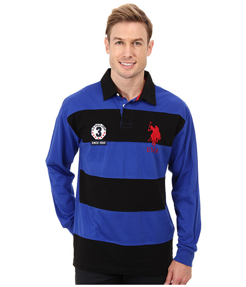 U.S. POLO ASSN. - Long Sleeve Stripe Solid Heavy Weight Jersey Rugby Shirt (Cobalt/Cobalt/Academy) Men's Long Sleeve Pullover