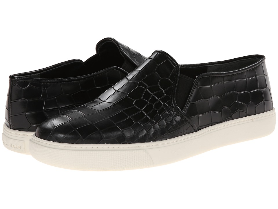 Cole Haan - Bowie Slipon Sneaker (Black Croc Embossed) Women